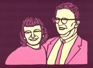 Anne and Carl Braden. Papercut by Seth Newton