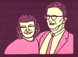 Anne and Carl Braden. Papercut by Seth Newton