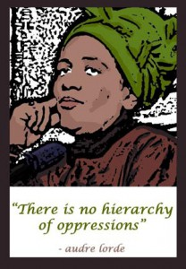 "Poster of Audre Lorde reading ""There is no hierarchy of oppressions."""