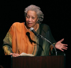 Toni Morrison with grey hair at microphone