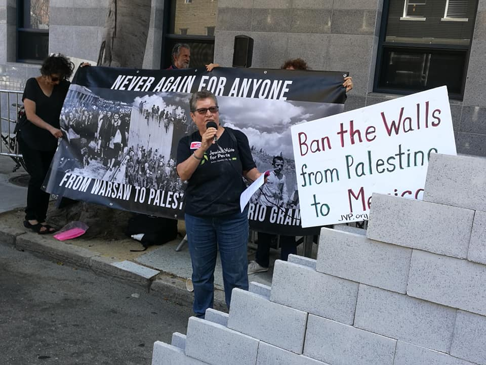 Ellen MCing protest in front of ICE. Wall with a sign that says ban the walls from Palestine to Mexico. Banner reads: Never Again for Anyone