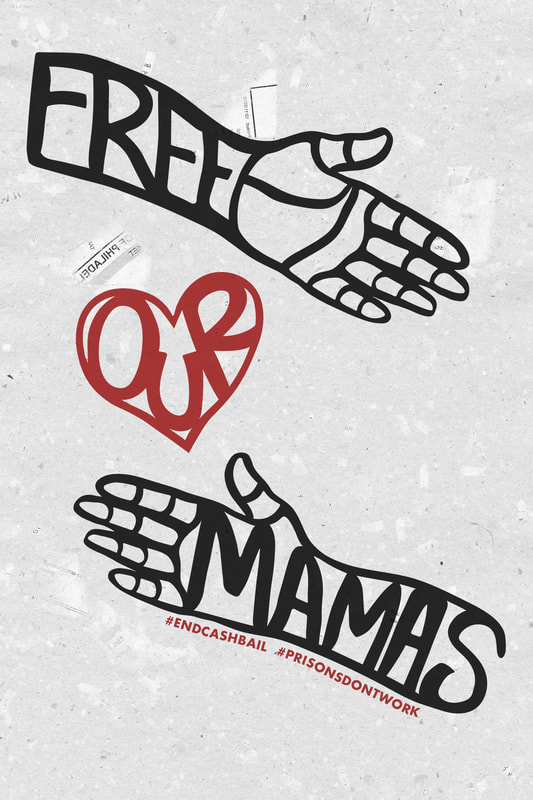 """The word """"Free"""" with a hand coming out of it, the word """"Our"""" inside of a hear. The word """"Mamas"""" with a hand coming out of it."""