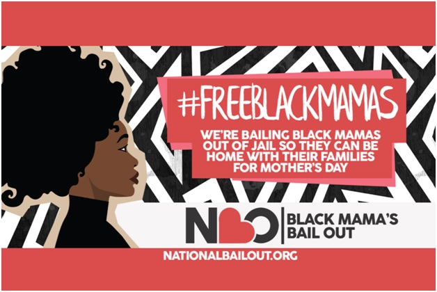 "Cartoon drawing of Black woman on a patterned background. Text reads: ""#FREEBLACKMAMA"" below logo for National Bail Out ""Black Mama's Bail Out"""