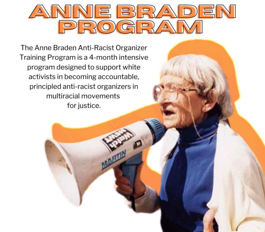 Anne Braden - white hair, glasses, blue turtleneck speaks into a megaphone, orange shadow behind her. Text reads: Anne Braden Program - The Anne Braden Anti-Racist Organizer Training Program is a 4-month intensive program designed to support white activists in becoming accountable, principle anti-racist organizers in multiracial movements for justice.