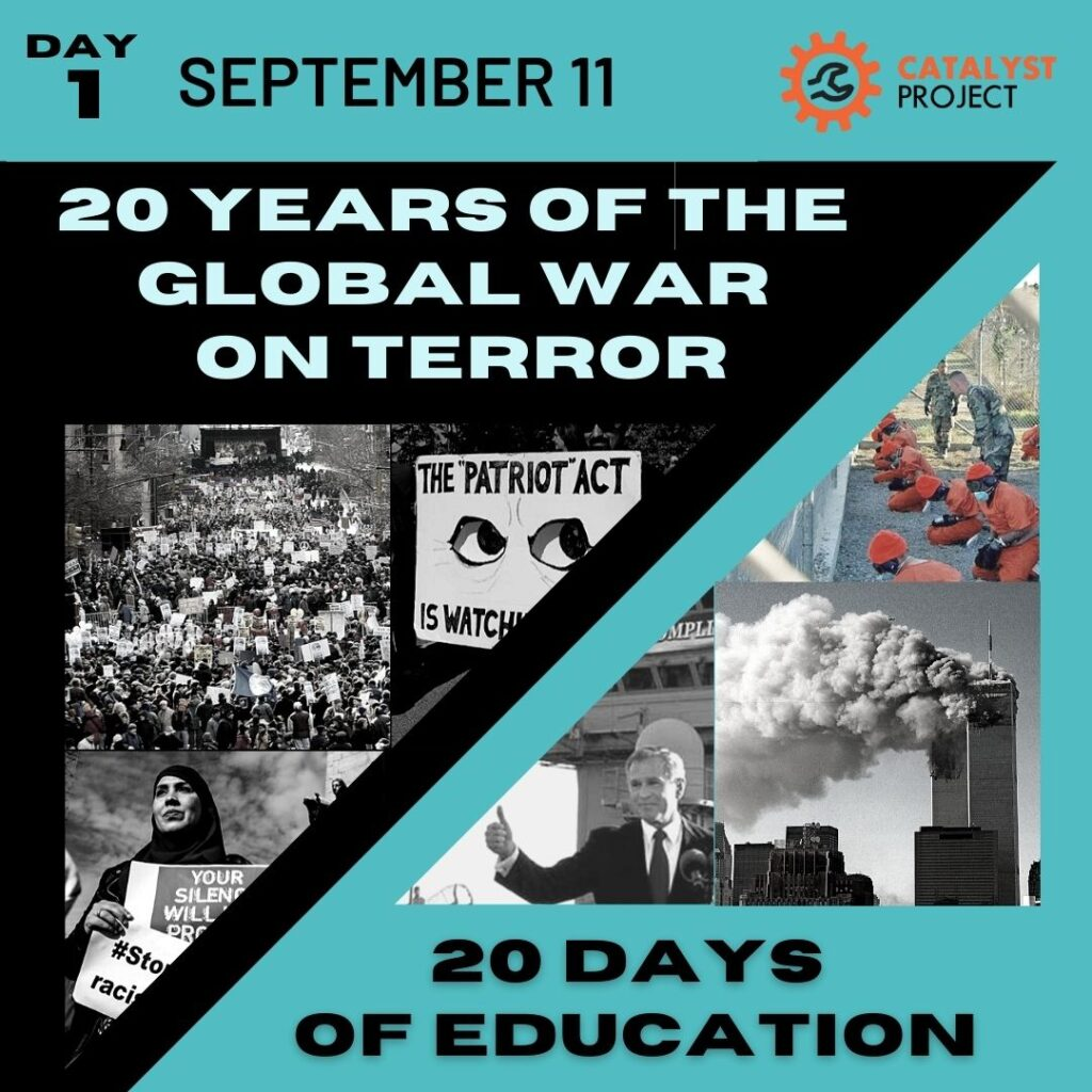 Day 1: September 11th: 20 Years of the Global War on Terror/20 Days of Education. Images of protesters, the world trade center, George W Bush